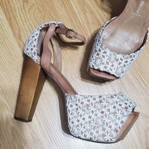 Jeffrey Campbell Crochet Wooden Platform Sandals
